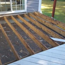 Removed old decking boards in preparation for new pressure treated deck