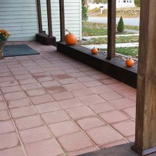 Paver installation complete on front porch remodel