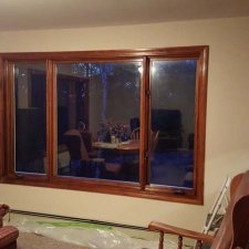 Wood trim on window refinished on home remodeling project